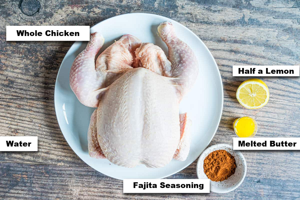 the ingredients needed for making Instant Pot whole chicken