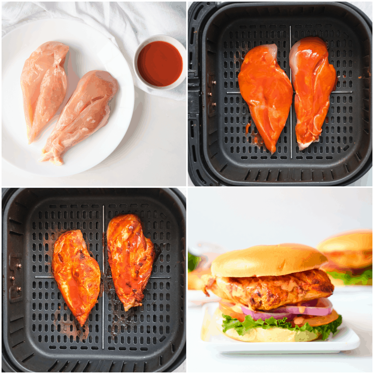 image collage showing the steps for making air fryer buffalo chicken sandwich