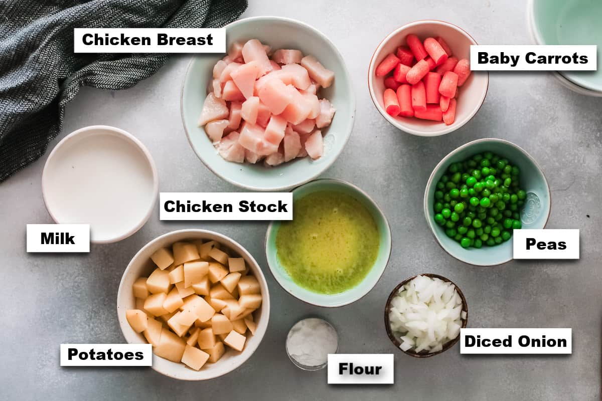 the ingredients needed for making chicken pot pie instant pot style