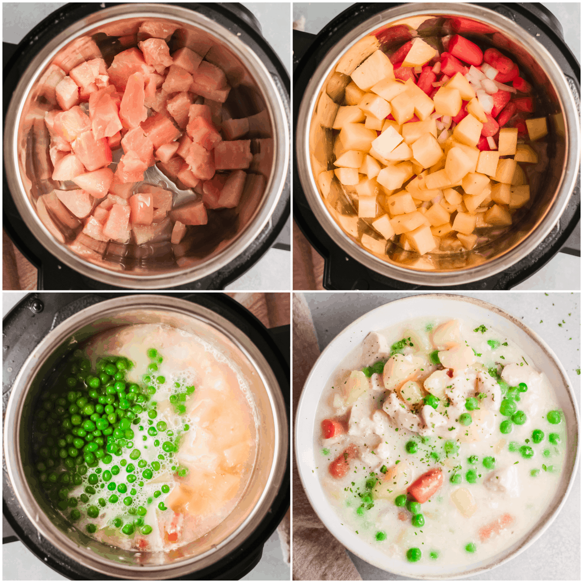 image collage showing the steps for making instant pot chicken pot pie