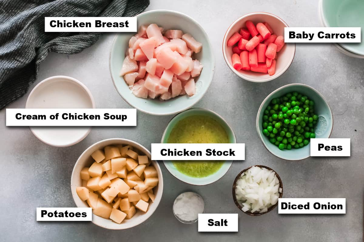 the ingredients needed for making slow cooker chicken pot pie