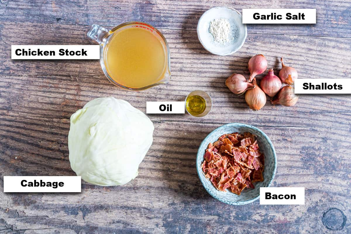 the ingredients needed for making smothered cabbage