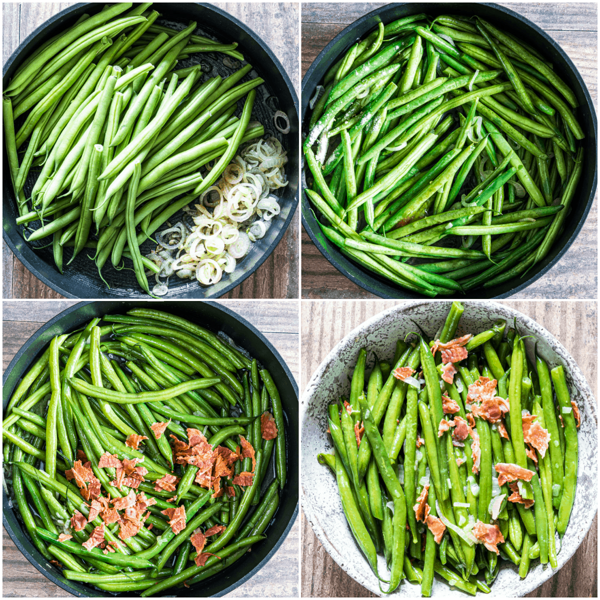 image collage showing the steps for making smothered green beans