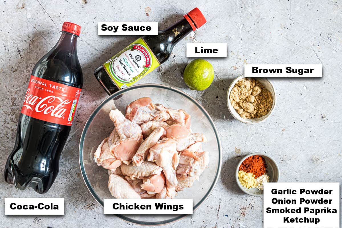 the ingredients needed for making coca cola chicken wings air fryer