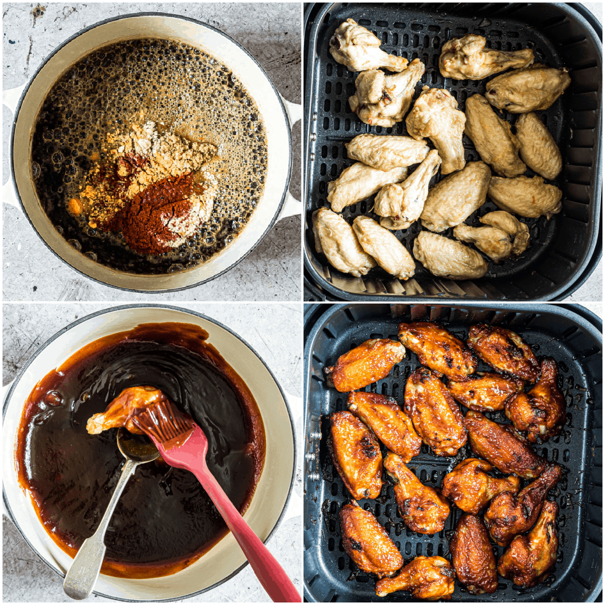 image collage showing the steps for making air fryer chicken wings
