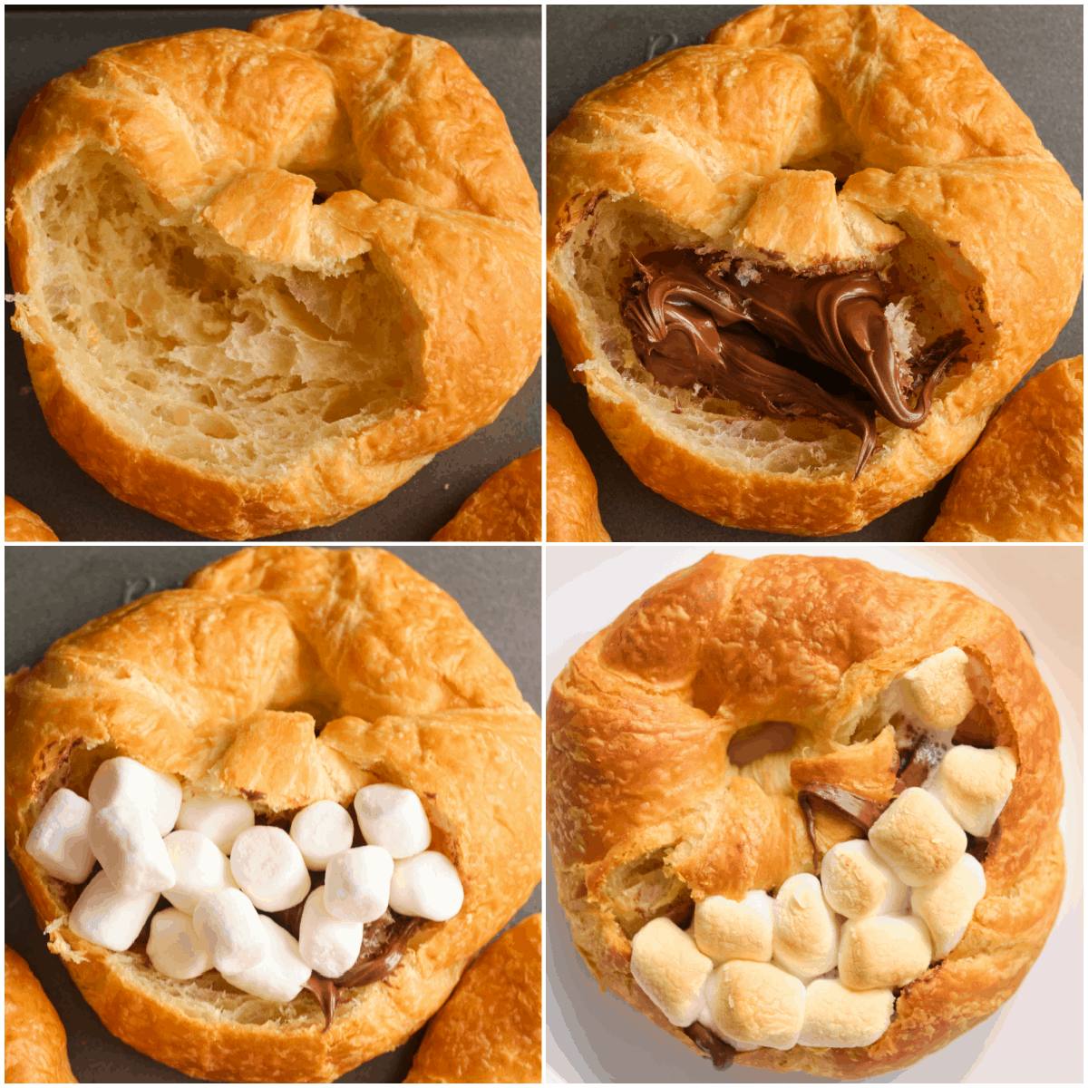 image collage showing the steps for making the stuffed croissants breakfast boat recipe
