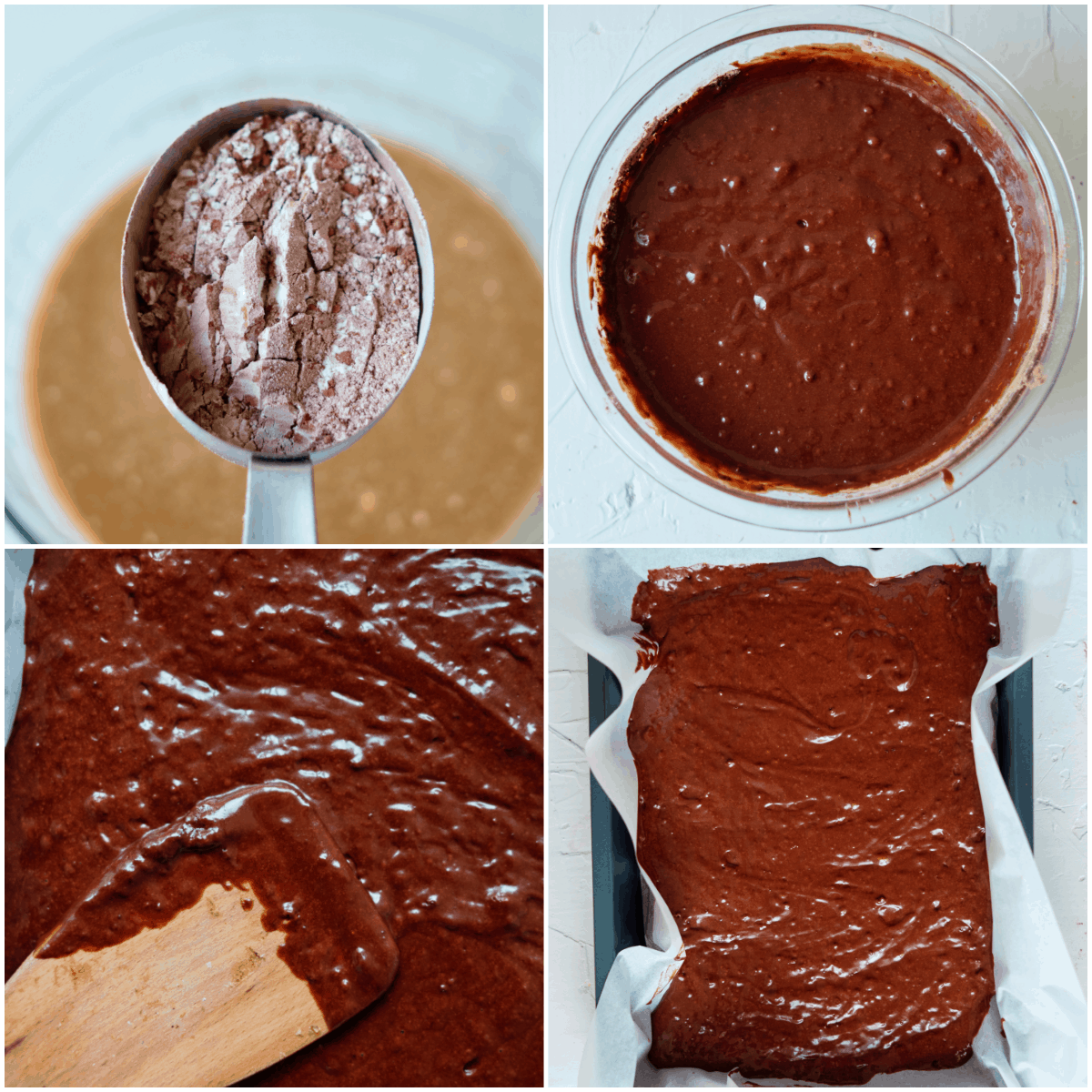 image collage showing the first steps for making Texas sheet cake