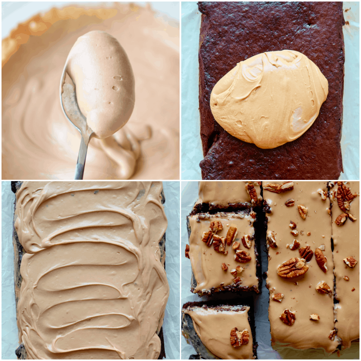 image collage showing the final steps for making Texas Sheet Cake