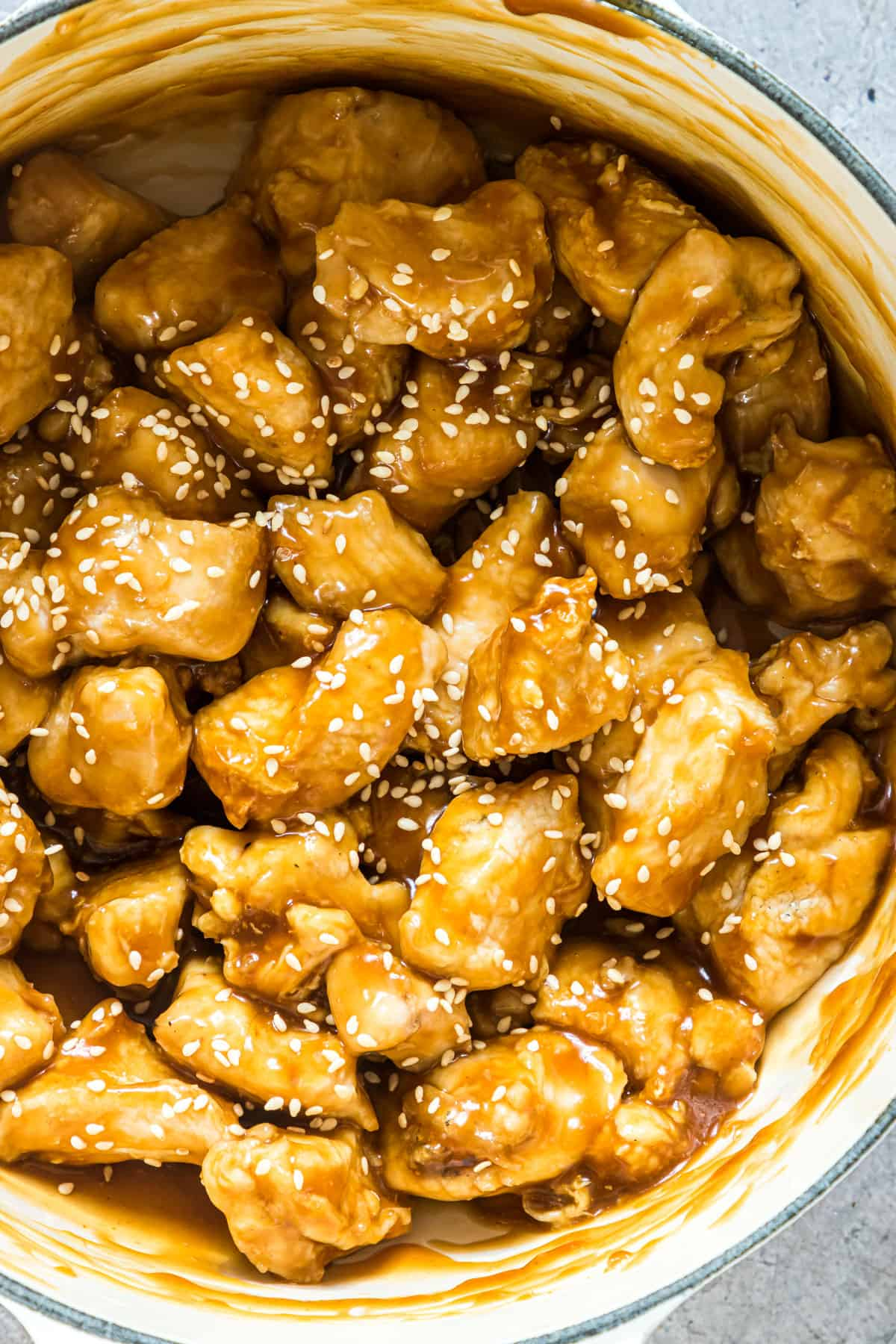 close up of the air fryer orange chicken ready to be served