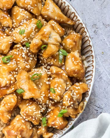 close up view of the completed air fryer orange chicken