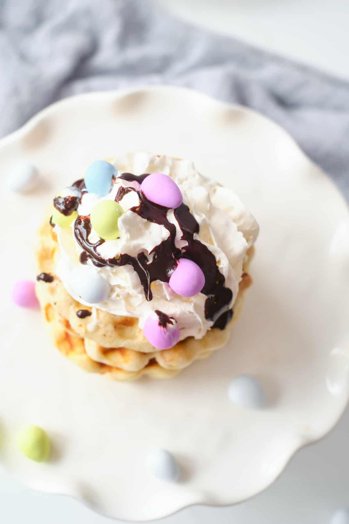 top down view of the finished easter biscuit waffles