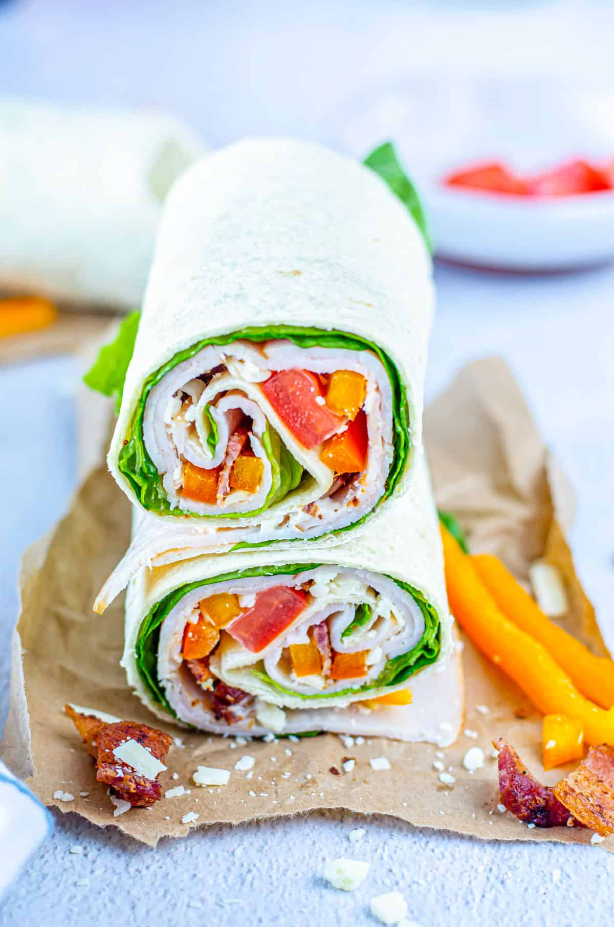 the finished chicken bacon ranch wrap stacked and ready to serve