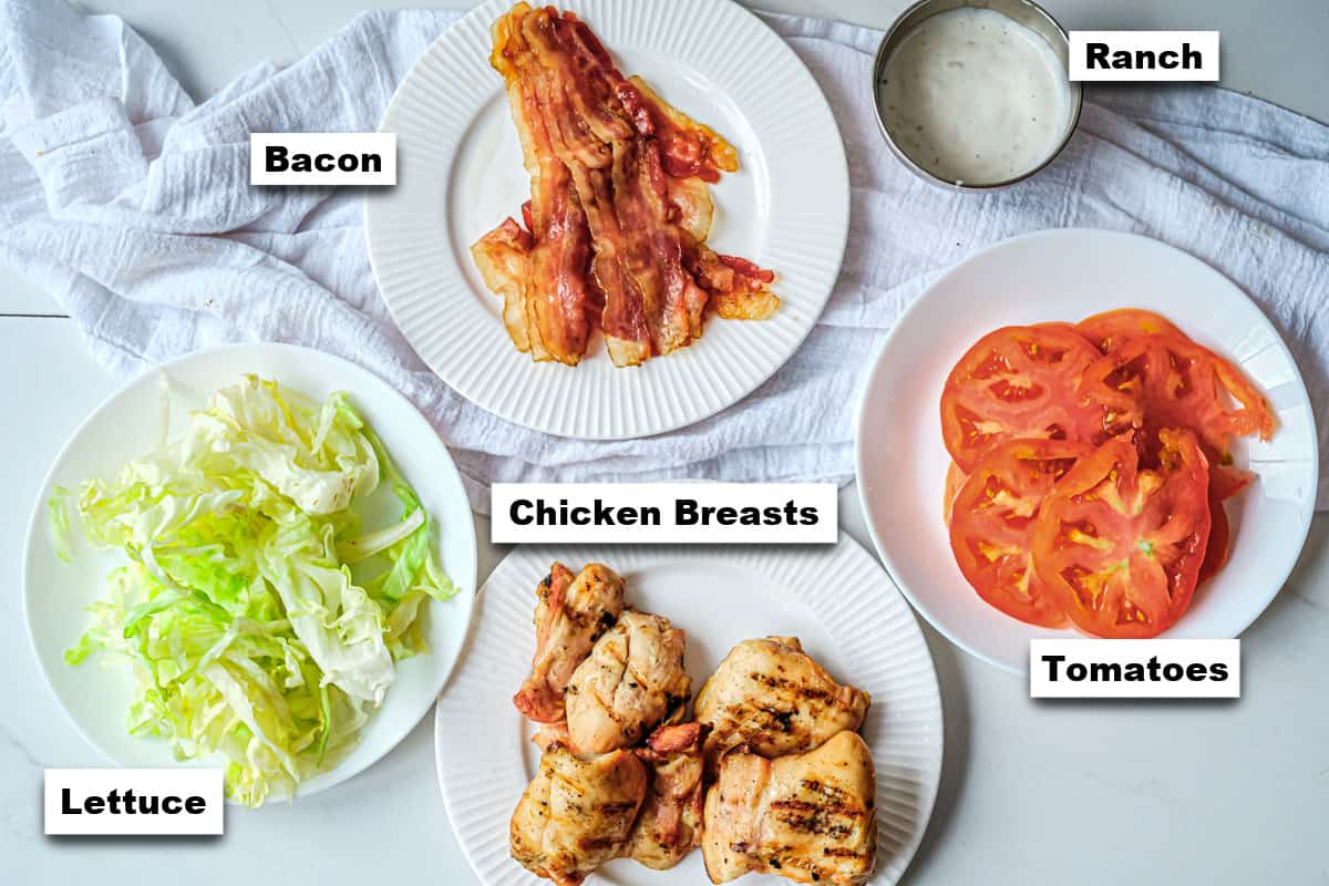 the ingredients needed for making chicken bacon ranch wrap