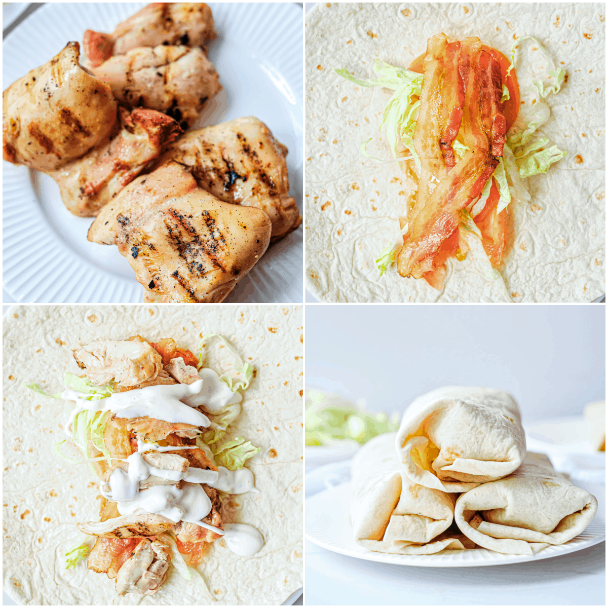 image collage showing the steps for making chicken wrap with bacon and ranch dressing
