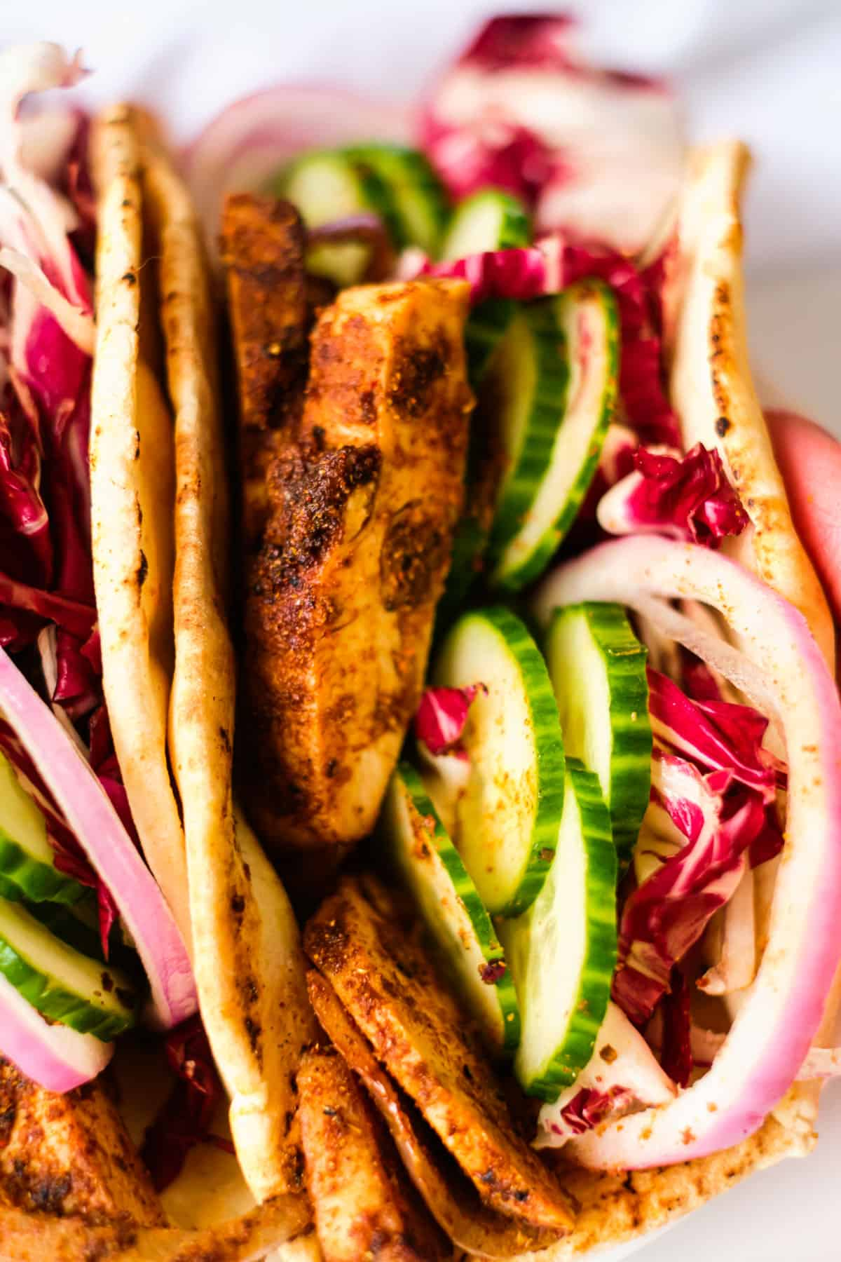 close up of the finished chicken shawarma sandwich