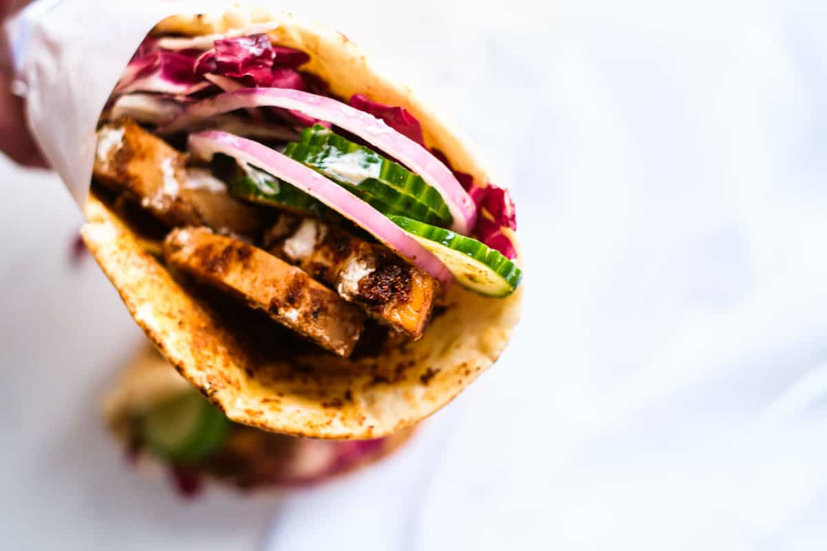 one completed chicken shawarma wrap