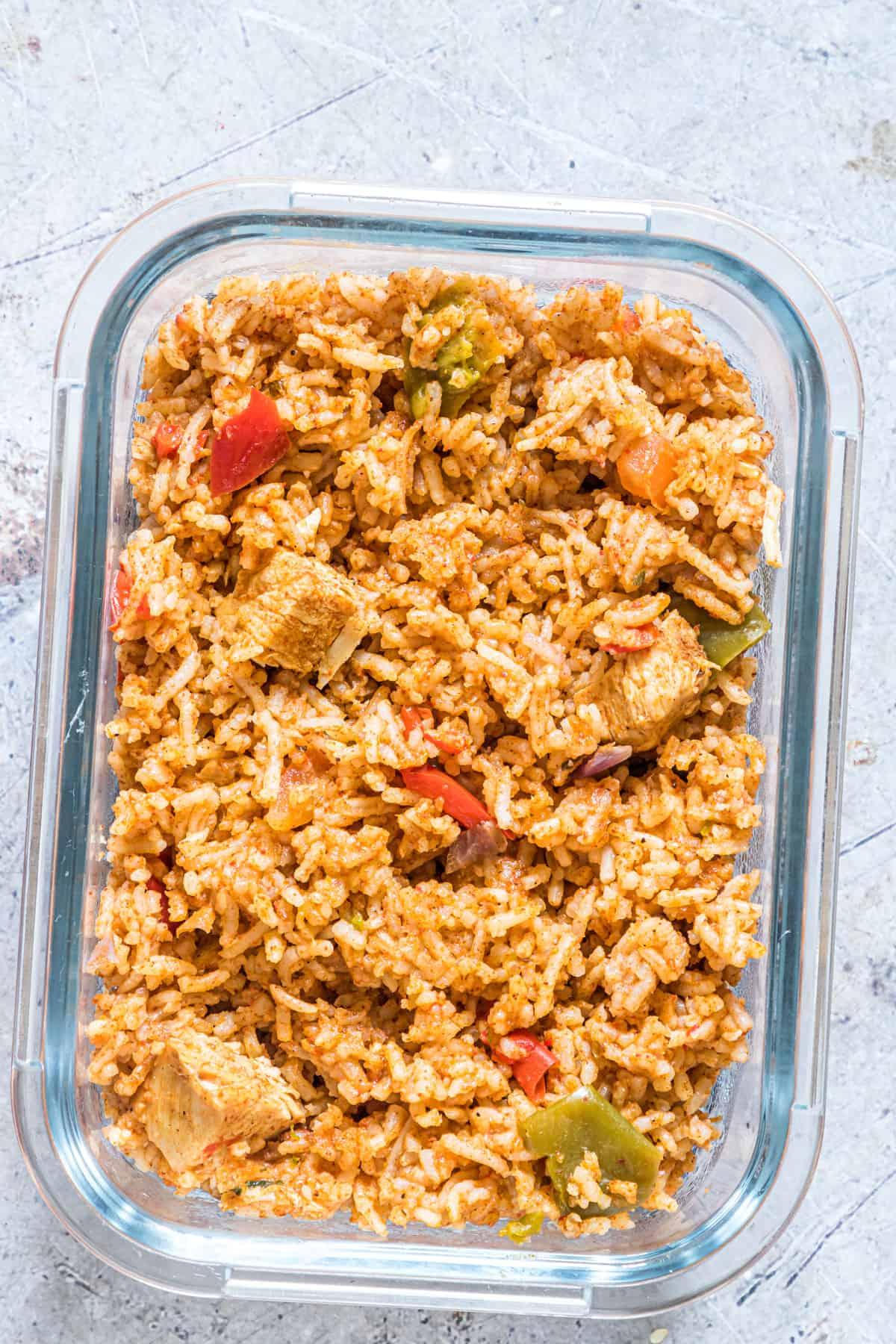 the fajita rice inside a glass food storage container