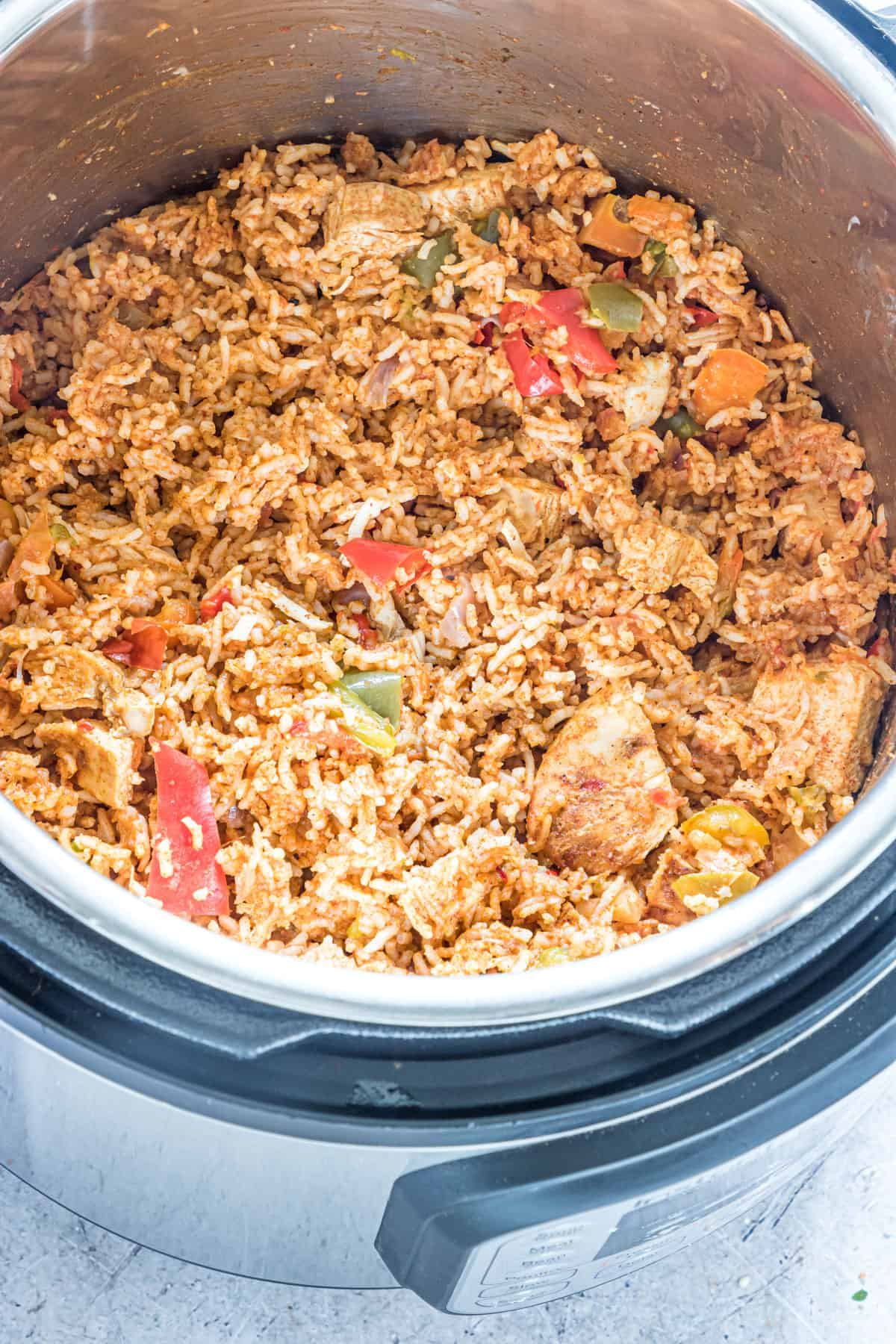 the completed fajita rice instant pot recipe