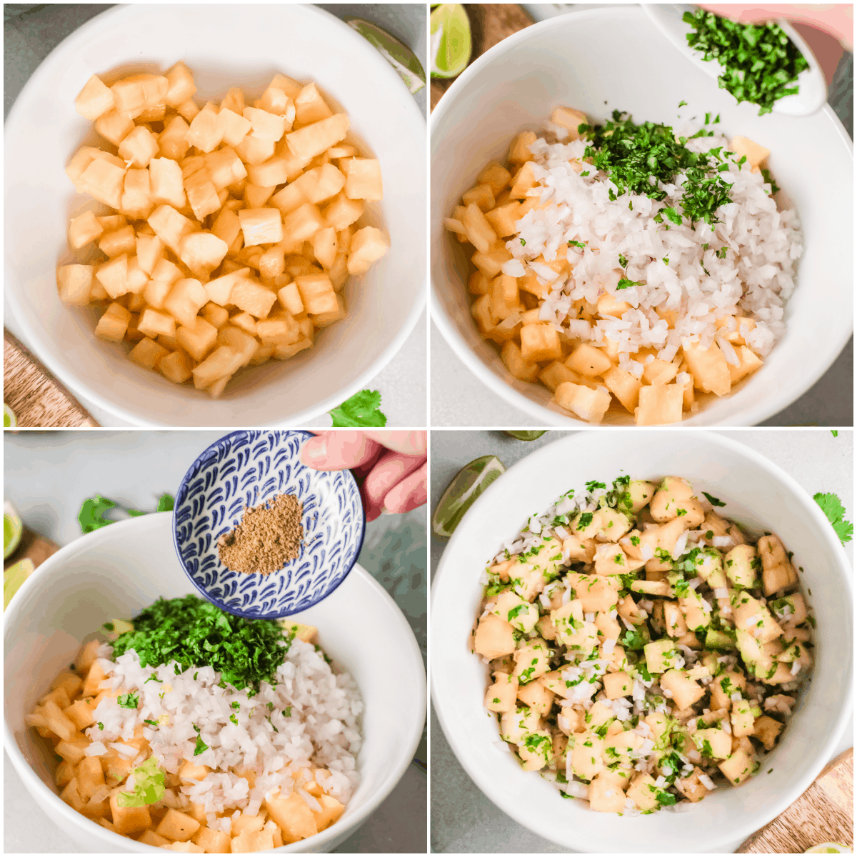 image collage showing the steps for making pineapple salsa