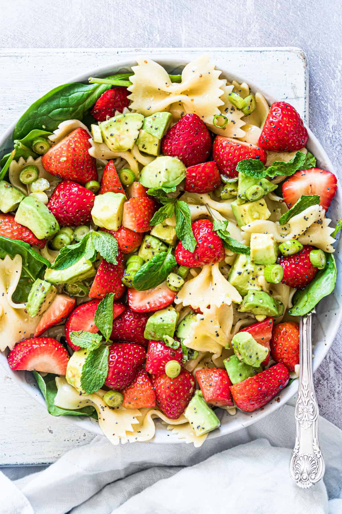 top down view of the completed strawberry avocado salad recipe