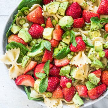top down view of the finished strawberry avocado pasta salad recipe