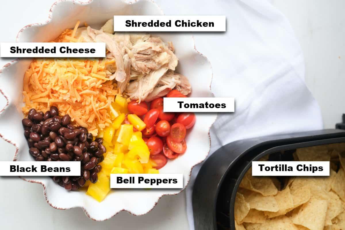 the ingredients needed for making air fryer chicken nachos