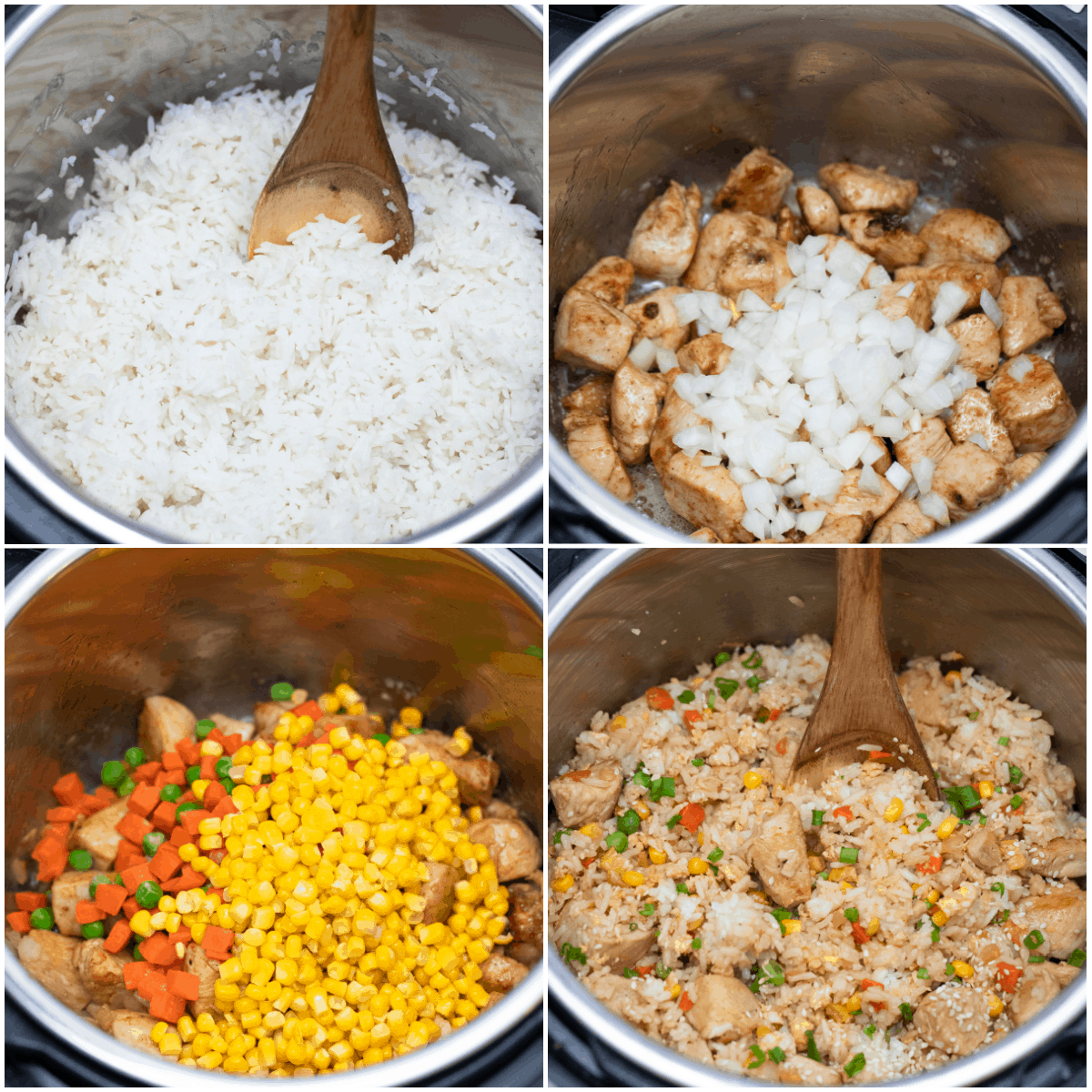image collage showing the steps for making instant pot chicken fried rice
