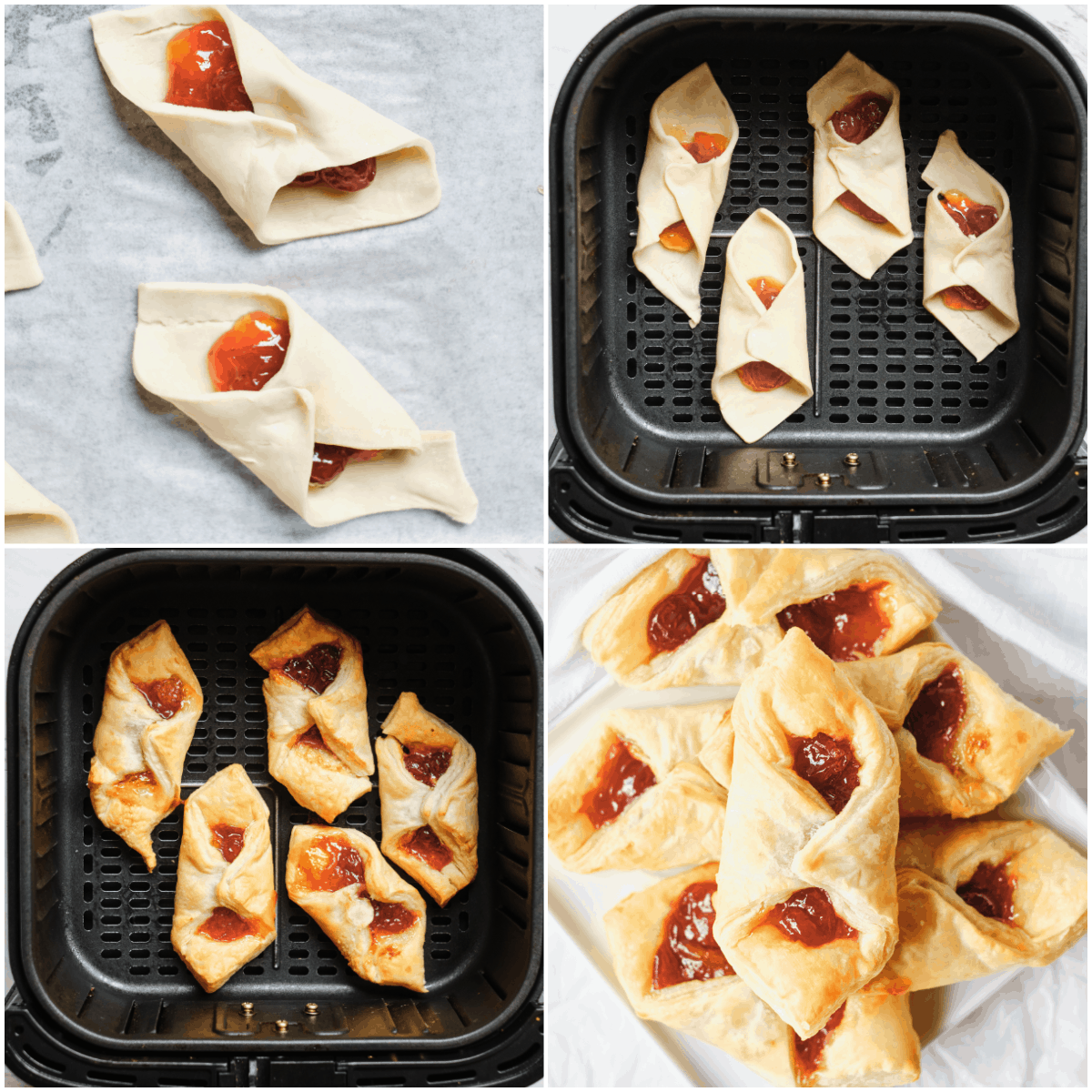 image collage showing the final steps for making air fryer puff pastry breakfast bites