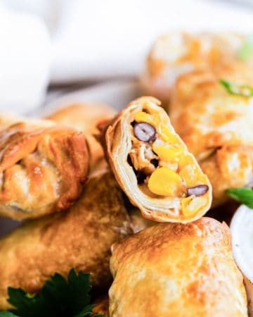 air fryer egg rolls with chicken on a plate