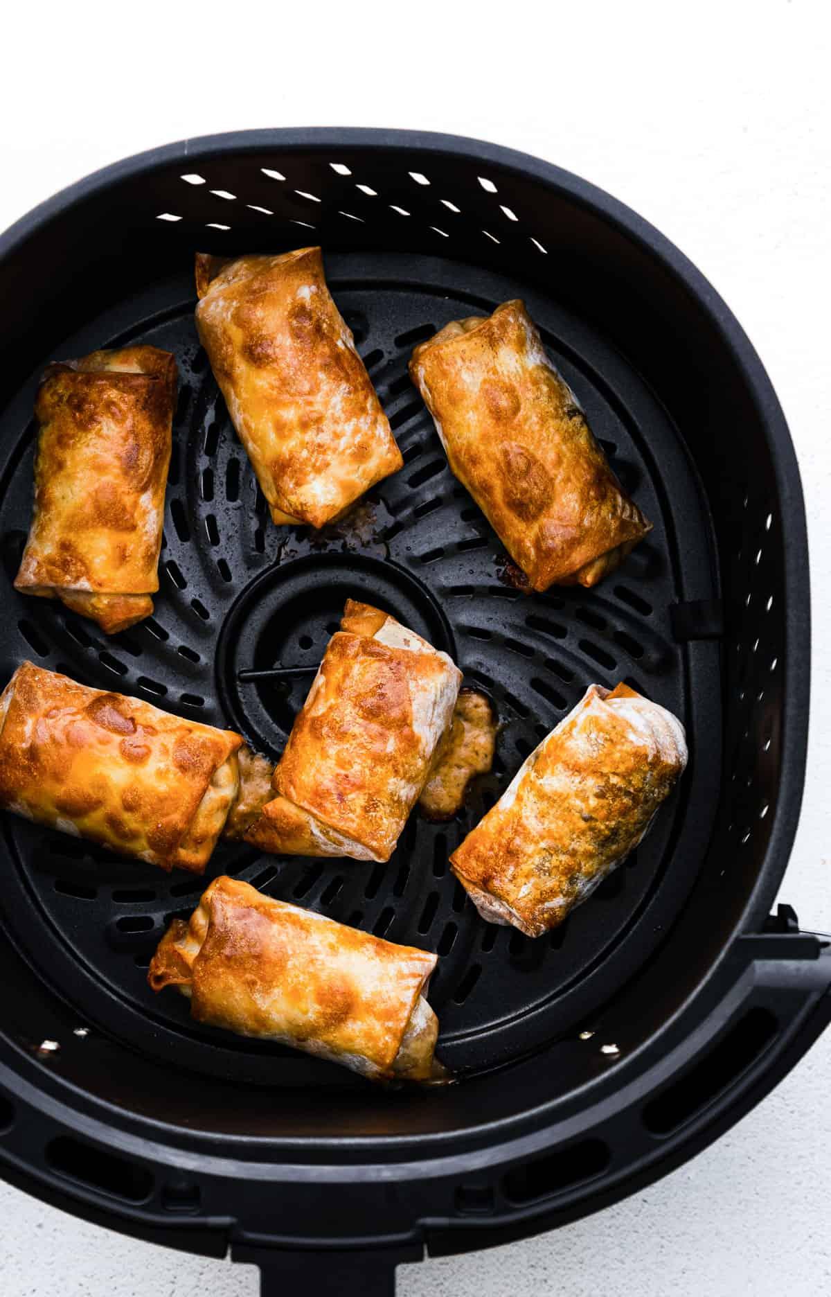 Air Fryer Chicken Egg Rolls In the air fryer basket