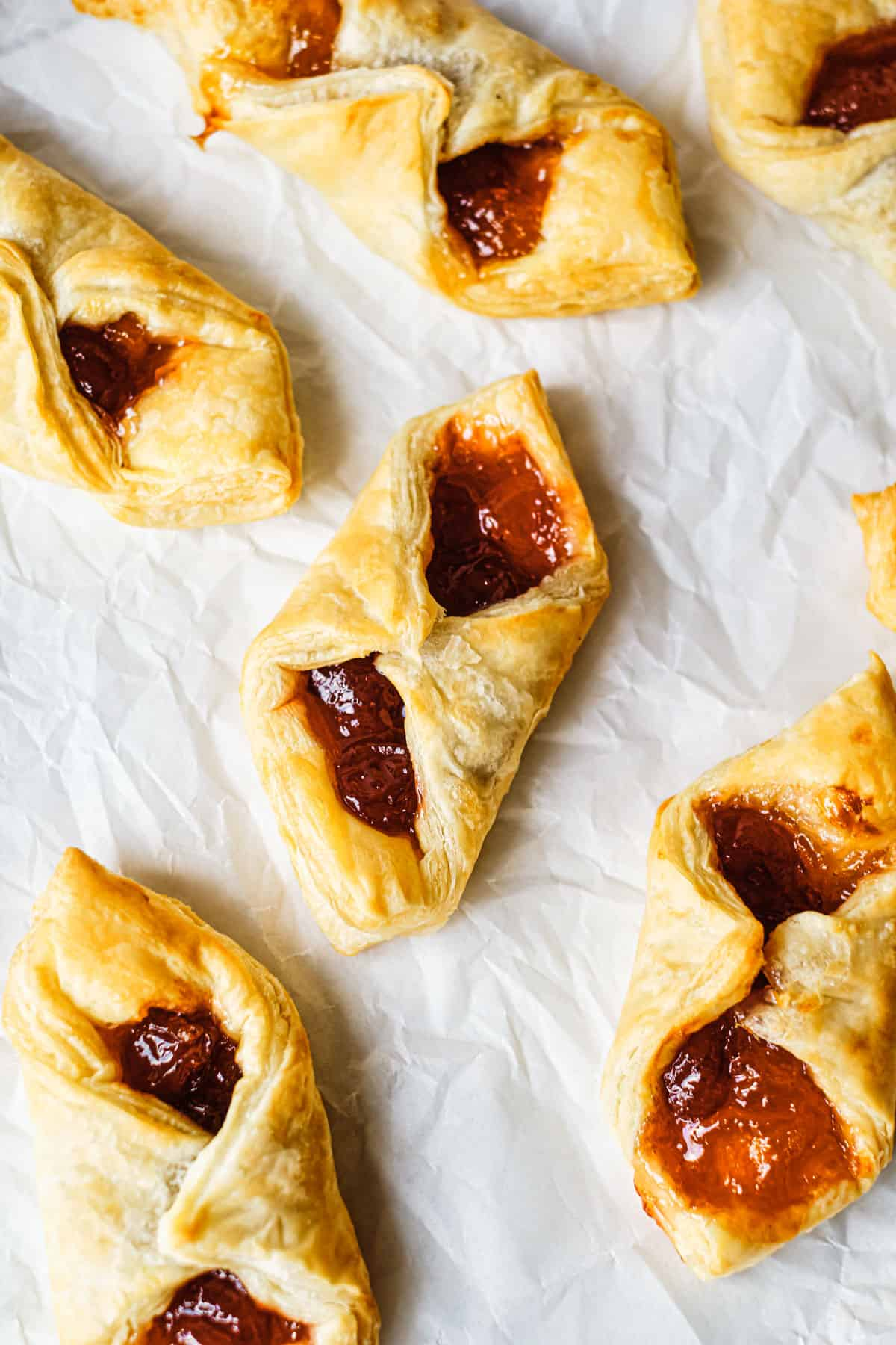 the finished breakfast puff pastry bites placed on parchment paper