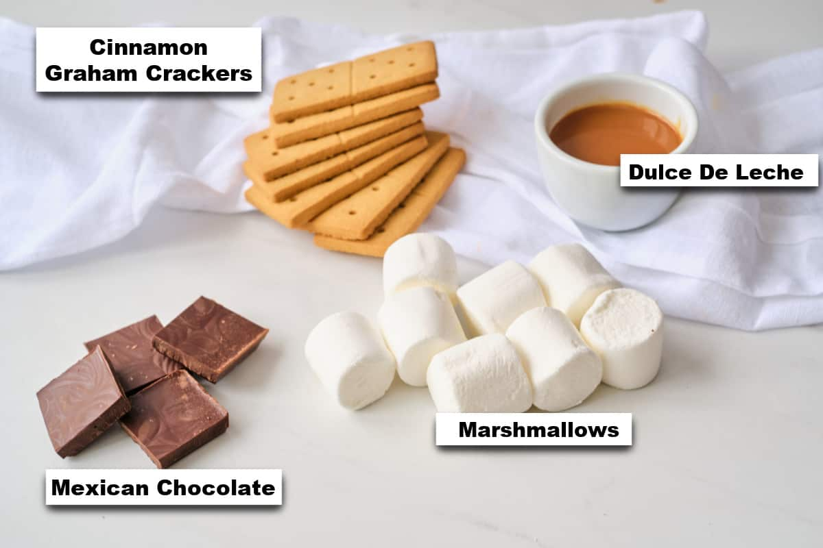 the ingredients needed for making Mexican S'Mores