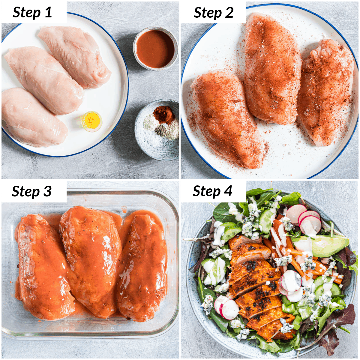 image collage showing the steps for making buffalo chicken salad