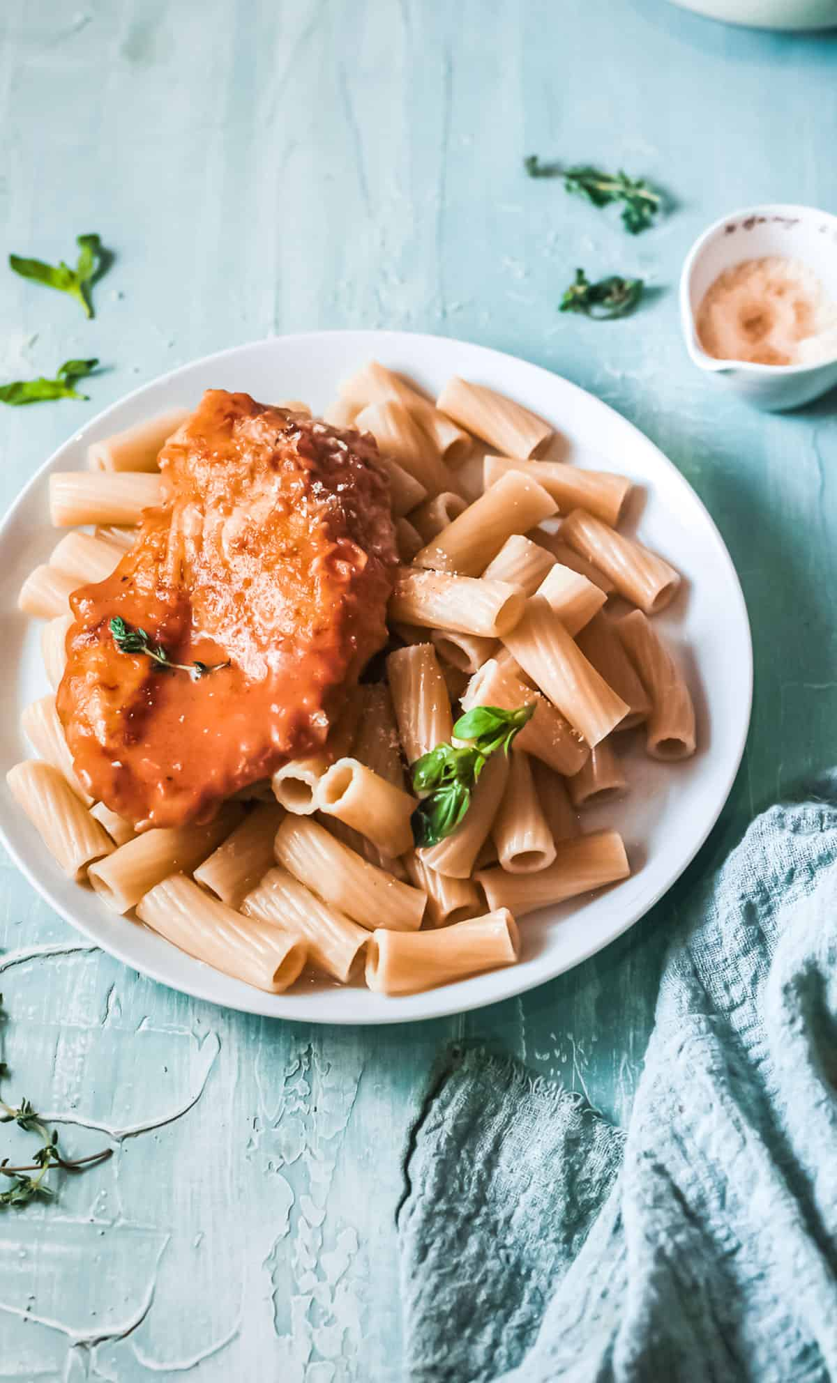 the finished cajun chicken recipe served with pasta