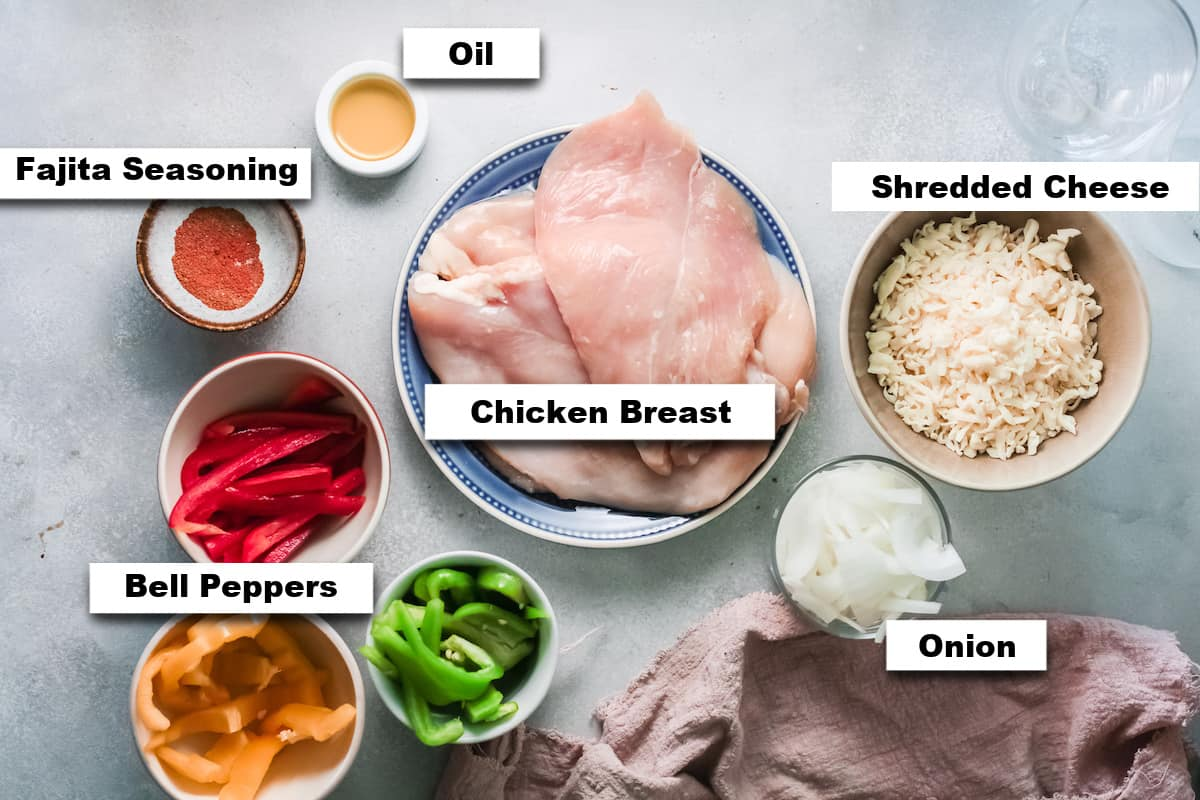 the ingredients needed for making fajita chicken casserole