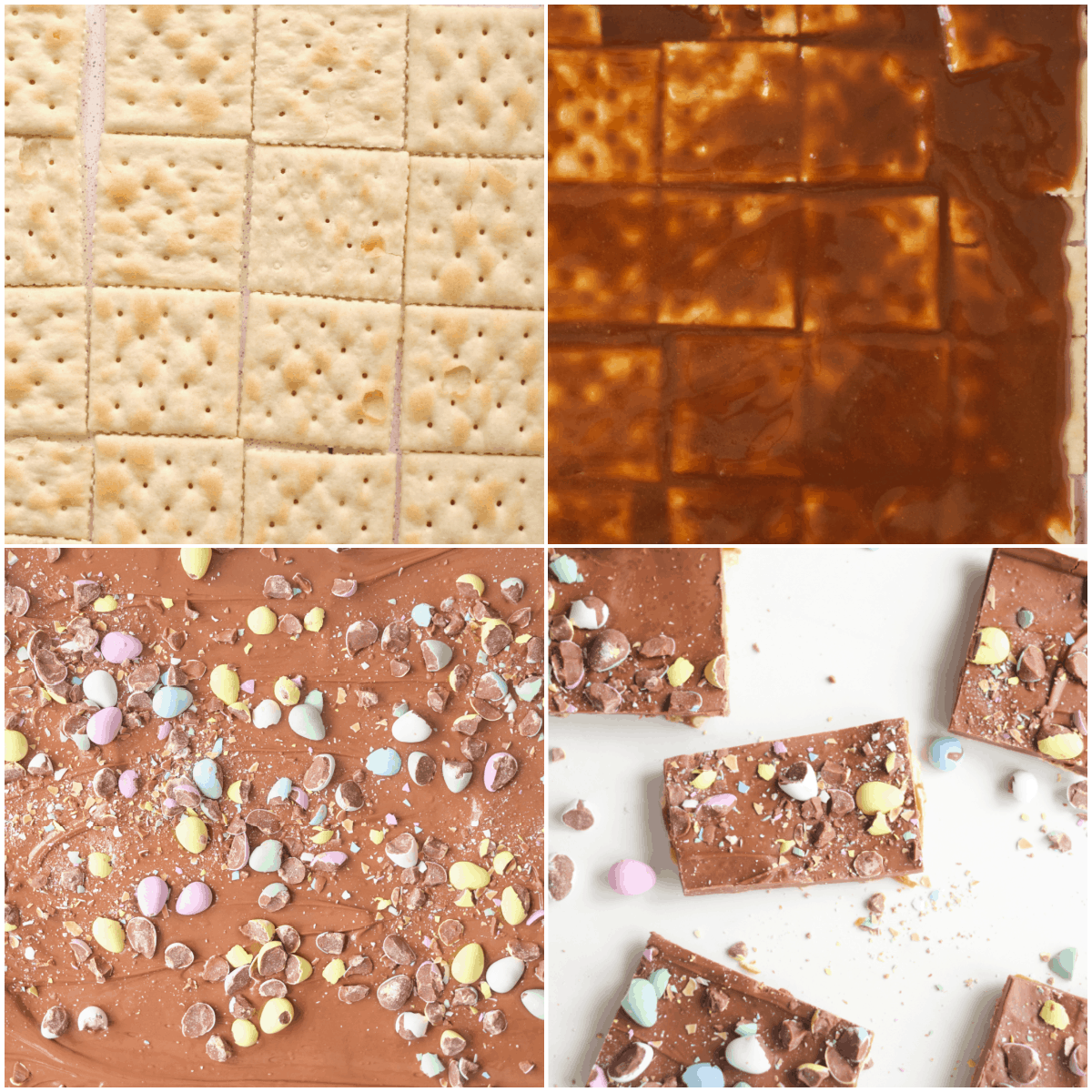image collage showing the steps for making easter cracker candy