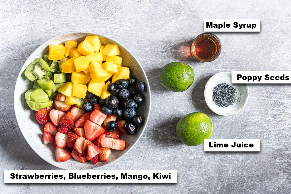 the ingredients needed for making this fruit salad recipe