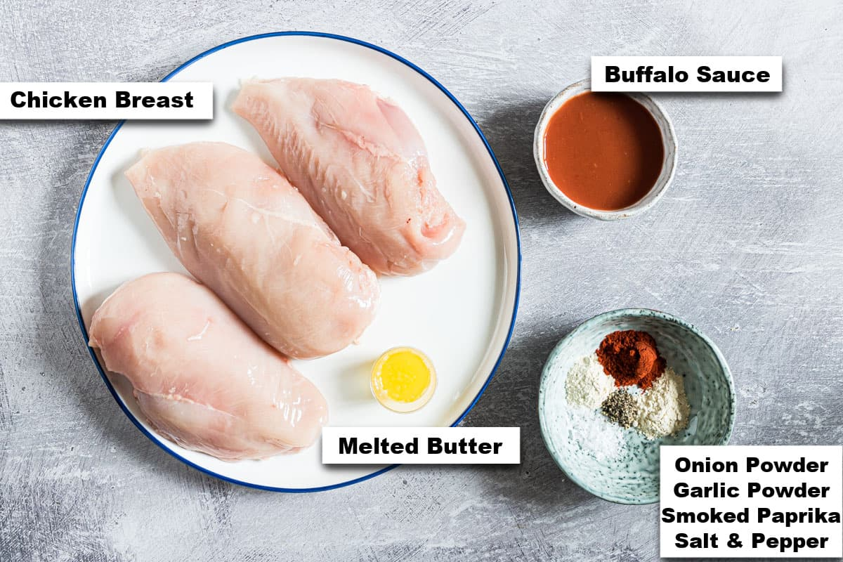 the ingredients needed for making grilled buffalo chicken