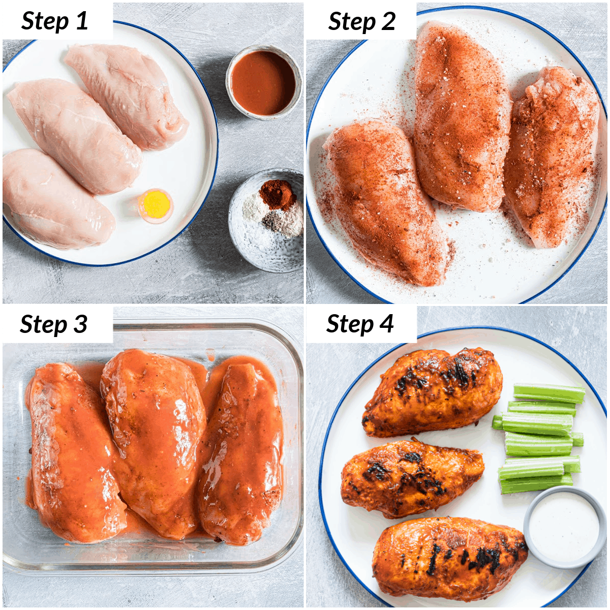 image collage showinfg the steps for making grilled buffalo chicken