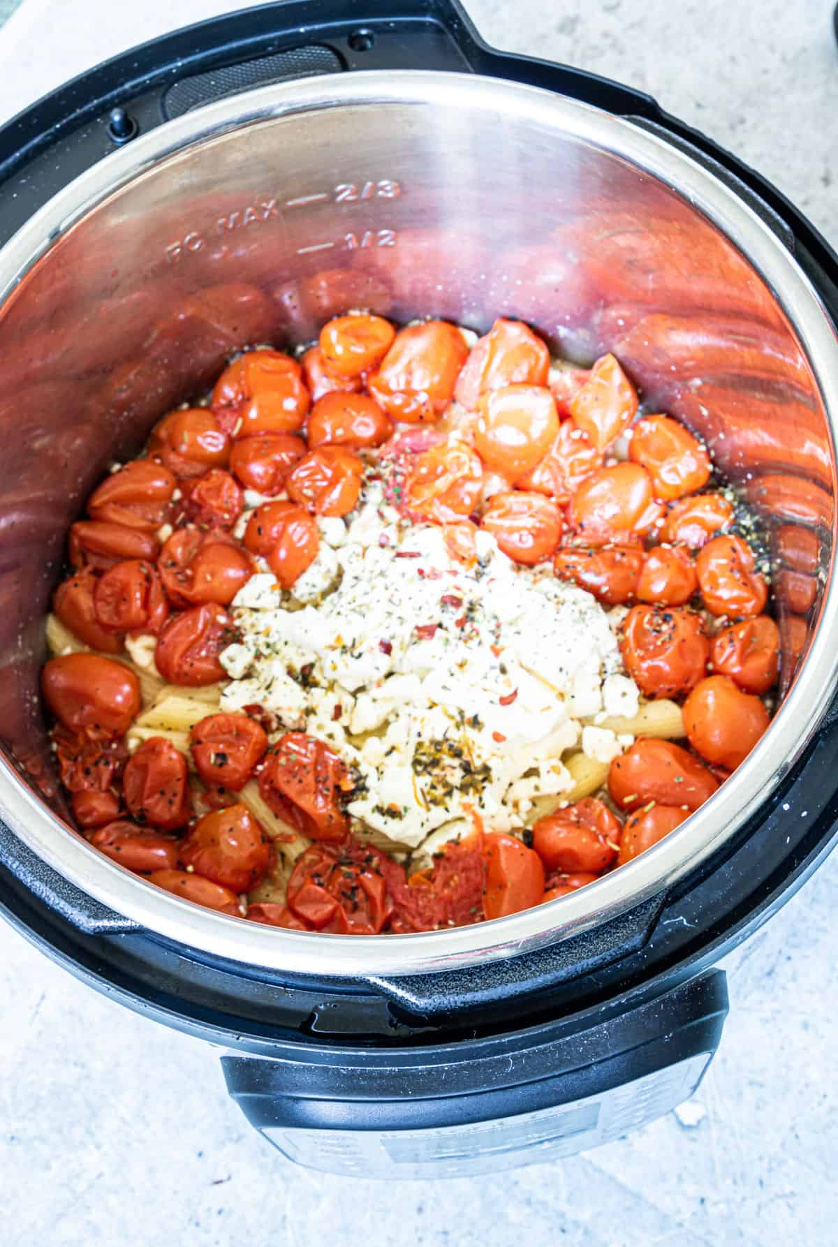 baked feta pasts inside the instant pot