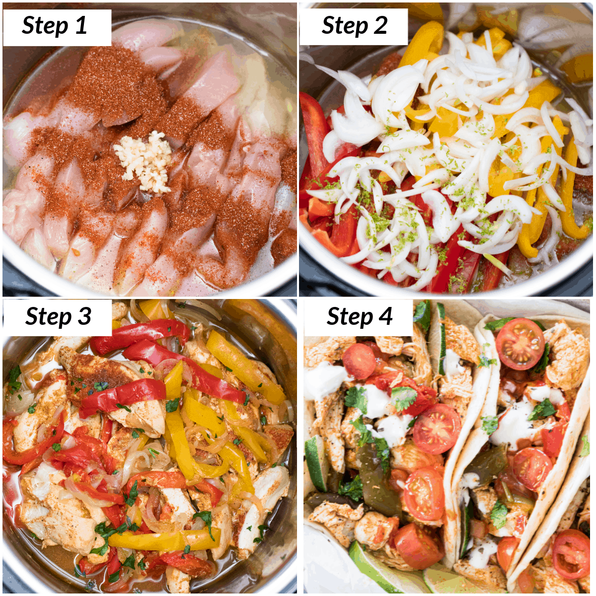image collage showing the steps for making instant pot chicken fajitas