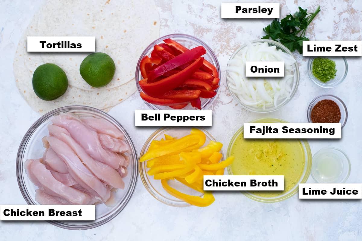 the ingredients needed for making instant pot chicken fajitas