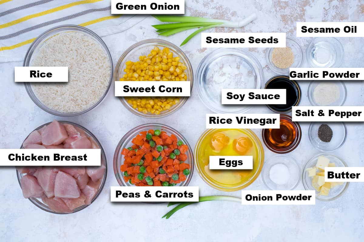 the ingredients needed for making instant pot chicken fried rice