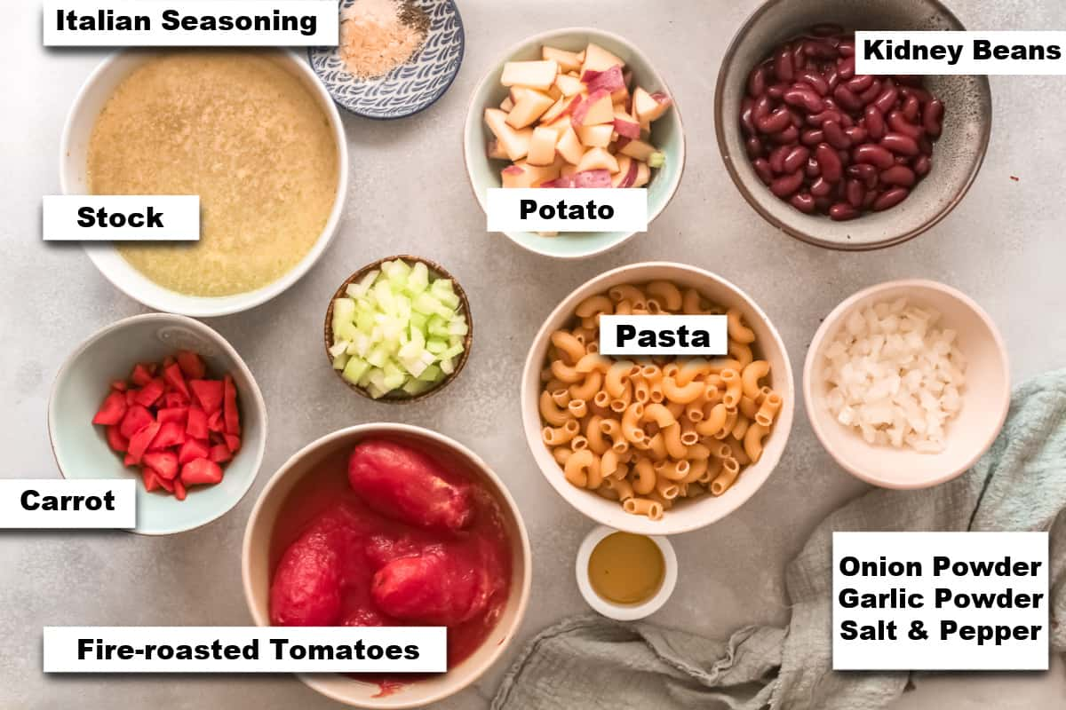 the ingredients for making instant pot minestrone