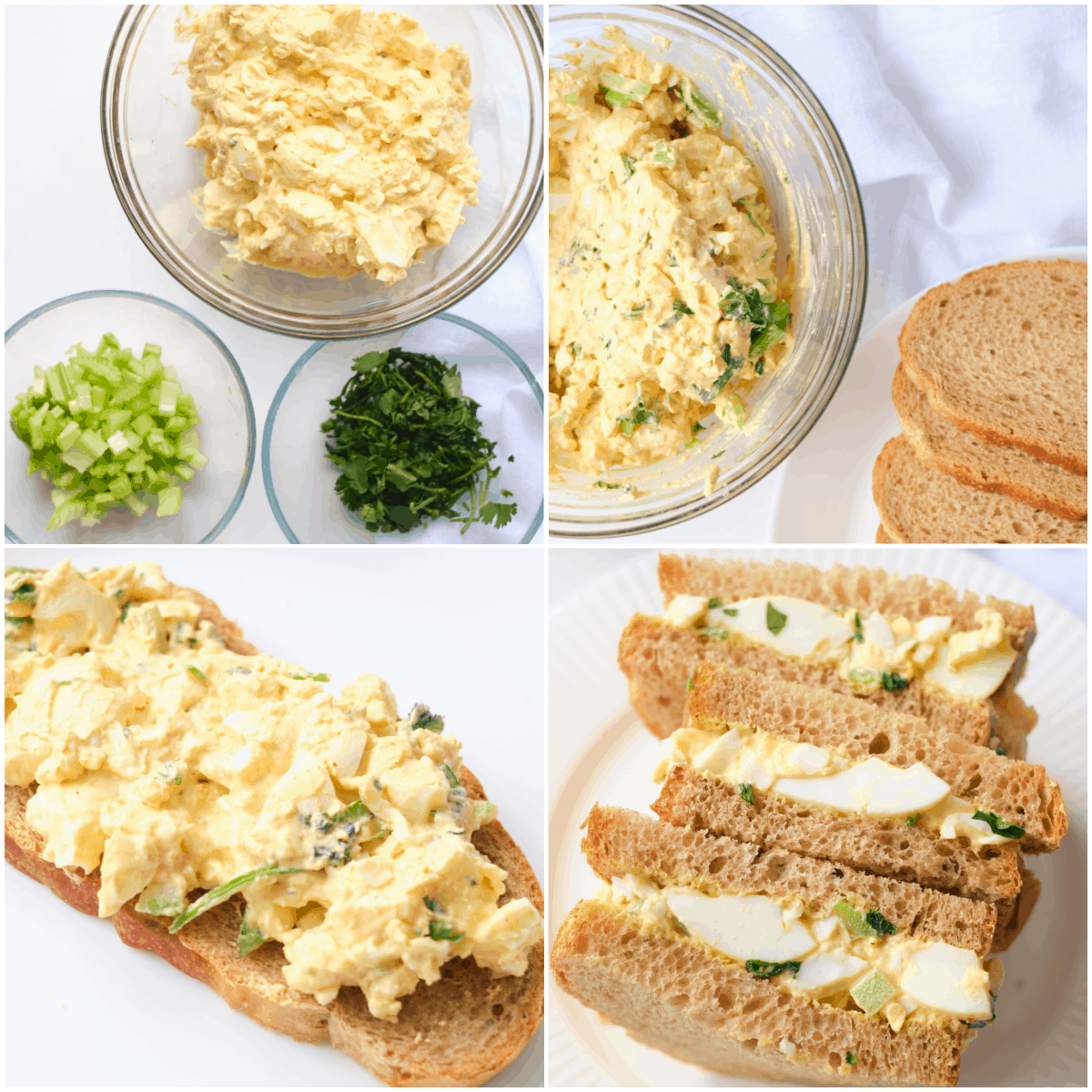 image collage showing the steps for making egg salad sandwich