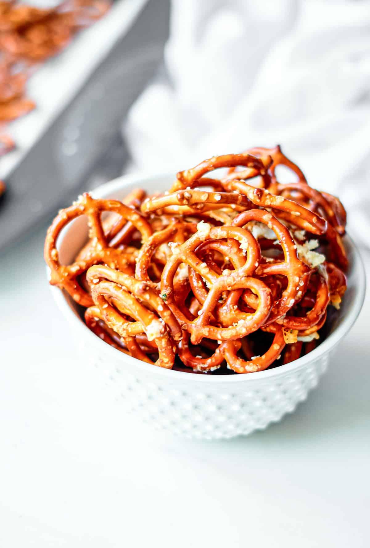 close up of a bowl of seasoned ranch pretzels