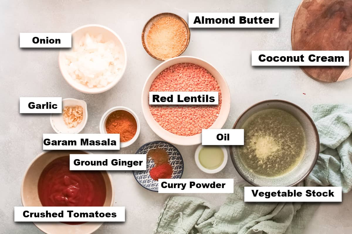 the ingredients needed for making red lentil curry recipe