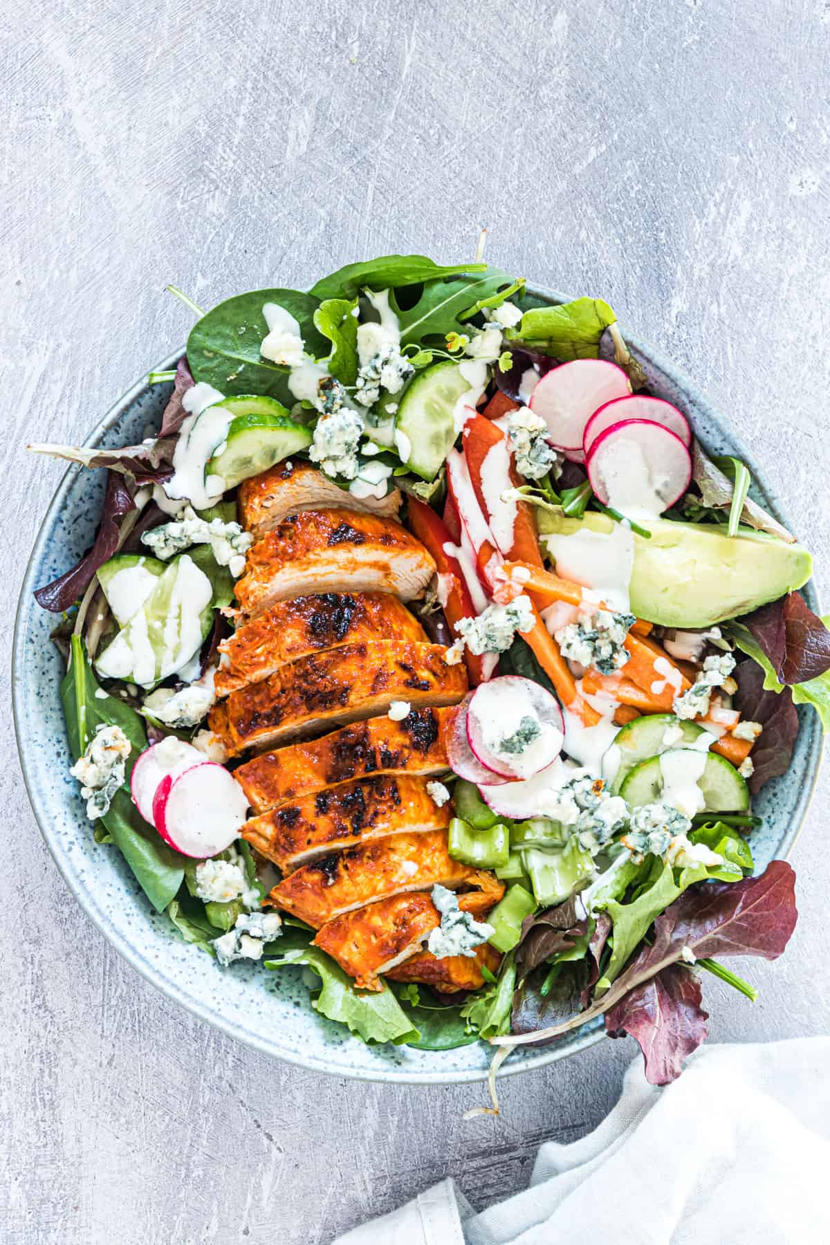 the completed buffalo chicken salad recipe