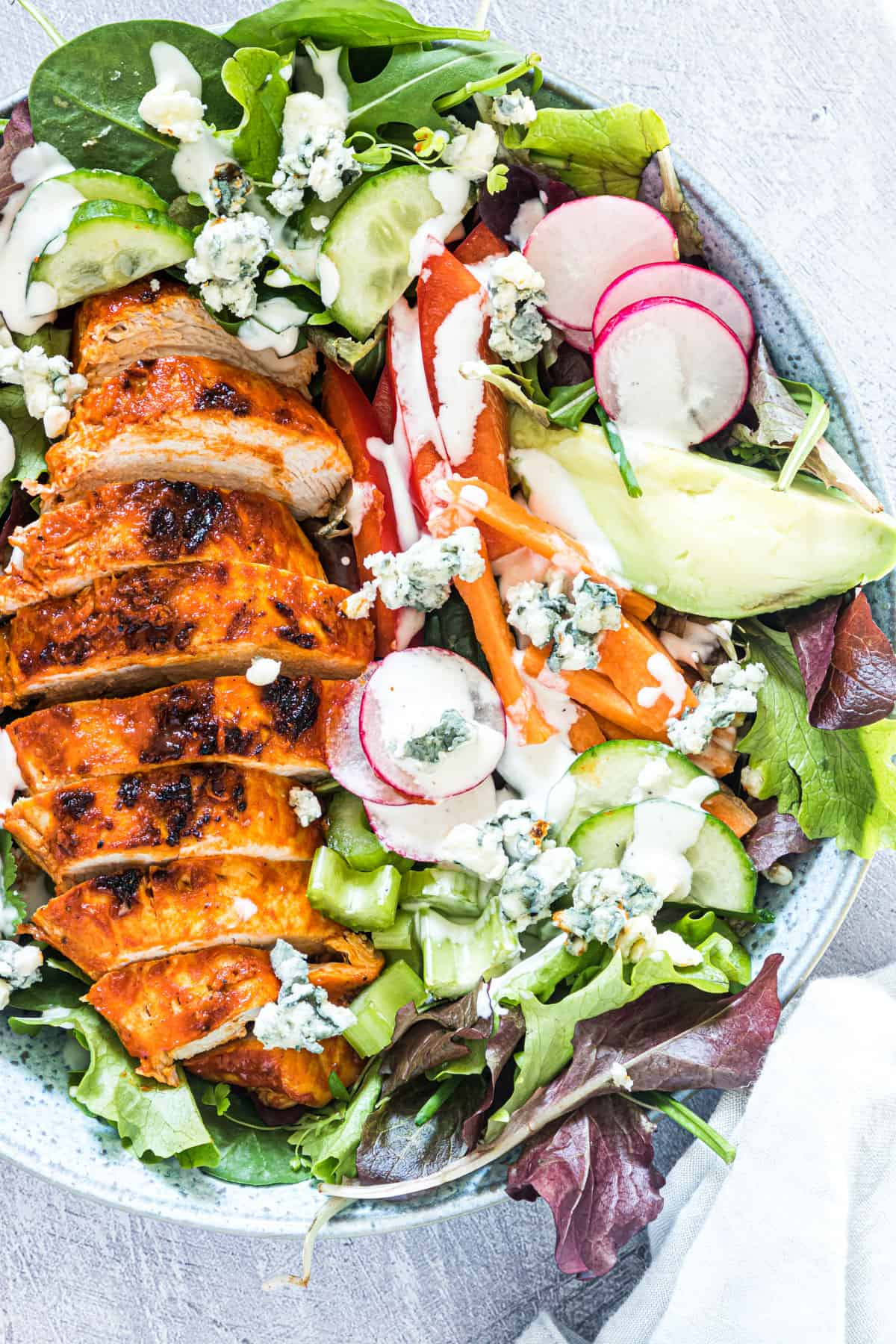 close up view of the finished buffalo chicken salad