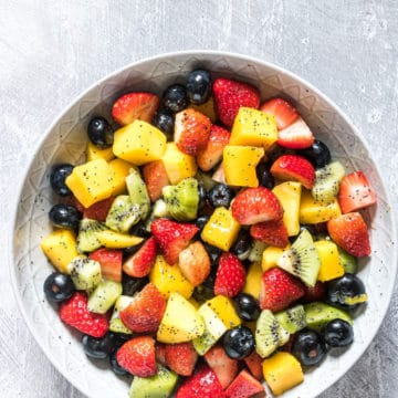 top down view of the completed fruit salad